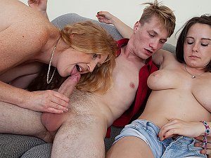 Young couple and redhead housewife fucking and sucking in hot threesome